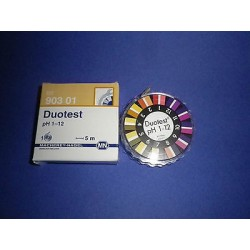 Duotest 1-12 pH indicator paper reel of 5 m x 10 mm MA 90301