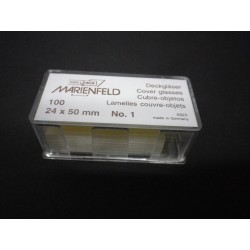 100 piece MARIENFELD cover glasses 18x18mm No. 1, made in Germany, cover glass